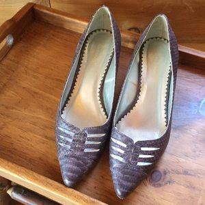 Size 8.5 Wide Lane Bryant cute purple black shoes
